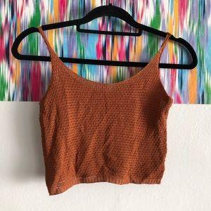 🦋 3/$15 LOVFEE Rusty brown crochet crop top tank